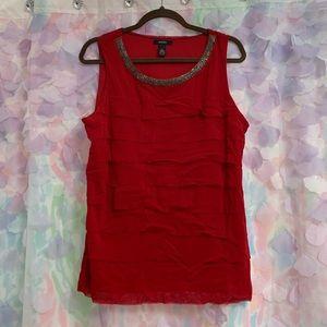 Alfani Red Beaded ruffled top